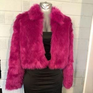 Hot pink faux fur jacket by Xhilaration size S